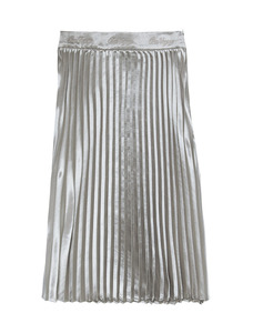 OIOI SHINNING PLEATS SKIRTS_silver