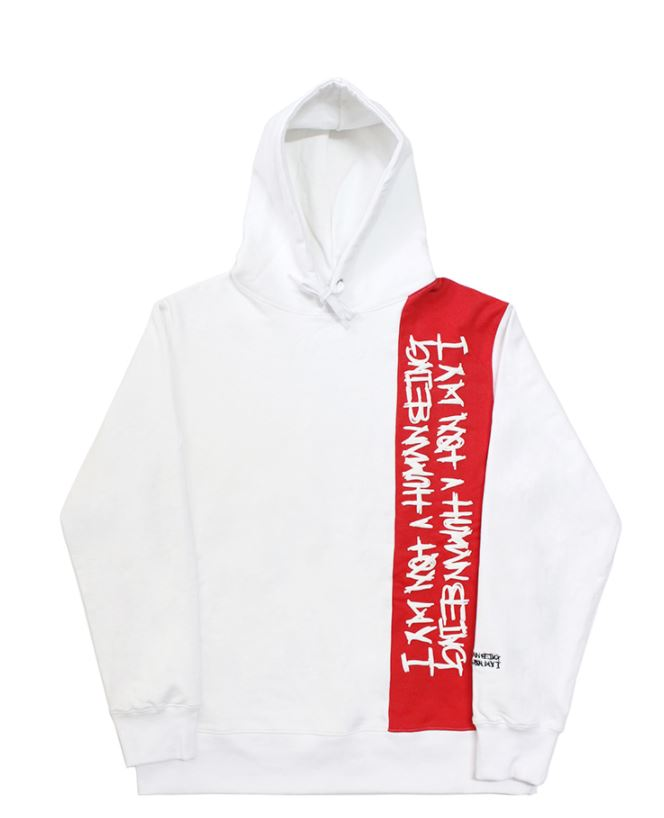 I AM NOT A HUMAN BEING Vertikal Basic Logo Hoodie - White/Red