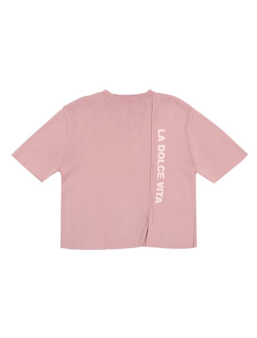 HALF NECK SLIT KNIT_pink