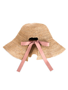 O!Oi X AWESOME NEEDS RIBBON BUCKET HAT _ RAFFIA